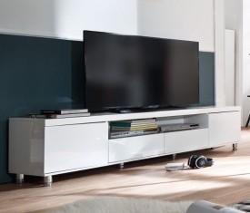 Biała szafka RTV w wysokim połysku Pont 2+2