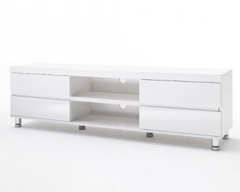 Biała szafka RTV w wysokim połysku Pont
