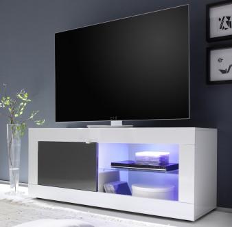 Mała szafka RTV z wstawkami w kolorze antracyt Basic