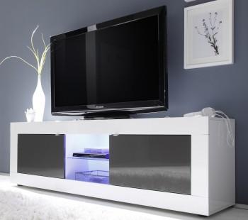 Duża szafka RTV z wstawkami w kolorze antracyt Basic