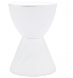 Biały stołek z tworzywa Tamburo