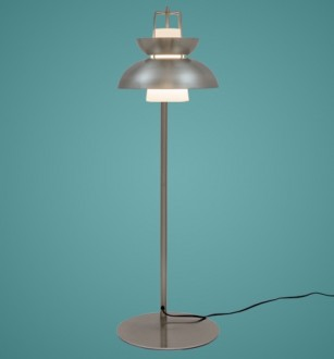 Niklowana lampa podłogowa Scandinavian