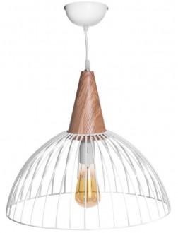 Biała lampa wisząca Lilly z drewnianym dekorem