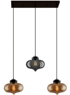 Dwukolorowa lampa wisząca London Loft 1 CL BSB ze szkła