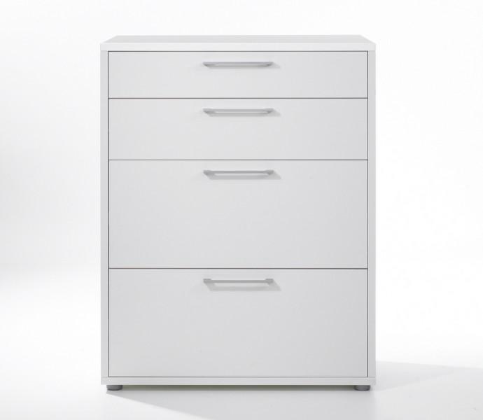 Niski biurowy regał z szufladami Prima biały