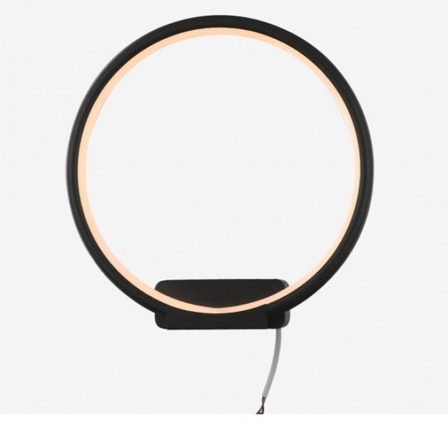 Designerski kinkiet ścienny Ledowe Okręgi Circle In czarny