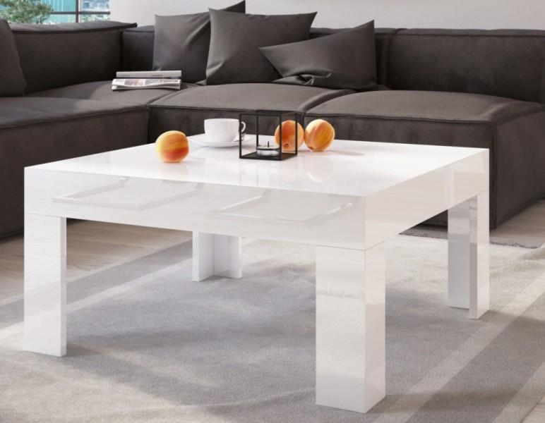Stolik Do Salonu W Wysokim Połysku Simple 80x80 Biały