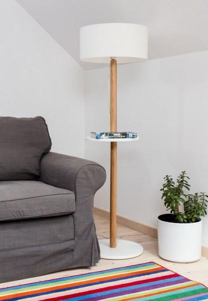 Stojąca lampa podłogowa z półką Ufo