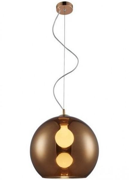 Miedziana lampa wisząca Vero z kulistym kloszem szklanym