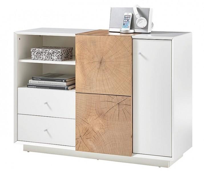 Biała komoda z dwoma szufladami i drzwiczkami Portmore 2D2S