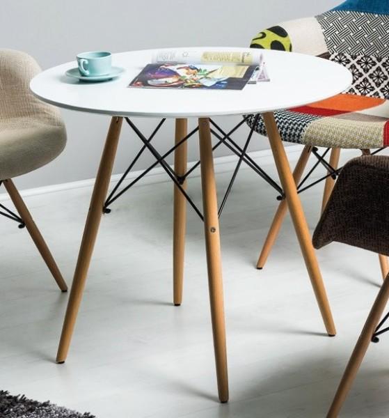 Inne rodzaje Biały okrągły stół na drewnianych nogach Soho - Stoły kawiarniane LO74