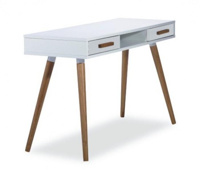 Modish Białe na drewnianych nogach biurko Milan B1 - Biurka komputerowe KR19