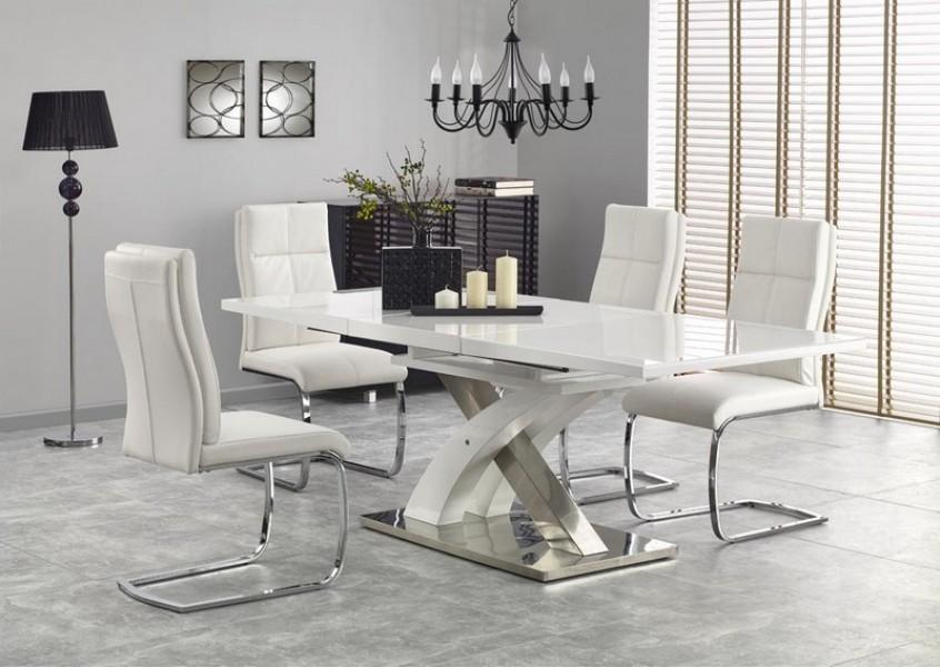 Wybitny Biały rozkładany stół Sandor 2 ze szklanym blatem - Stoły DF28