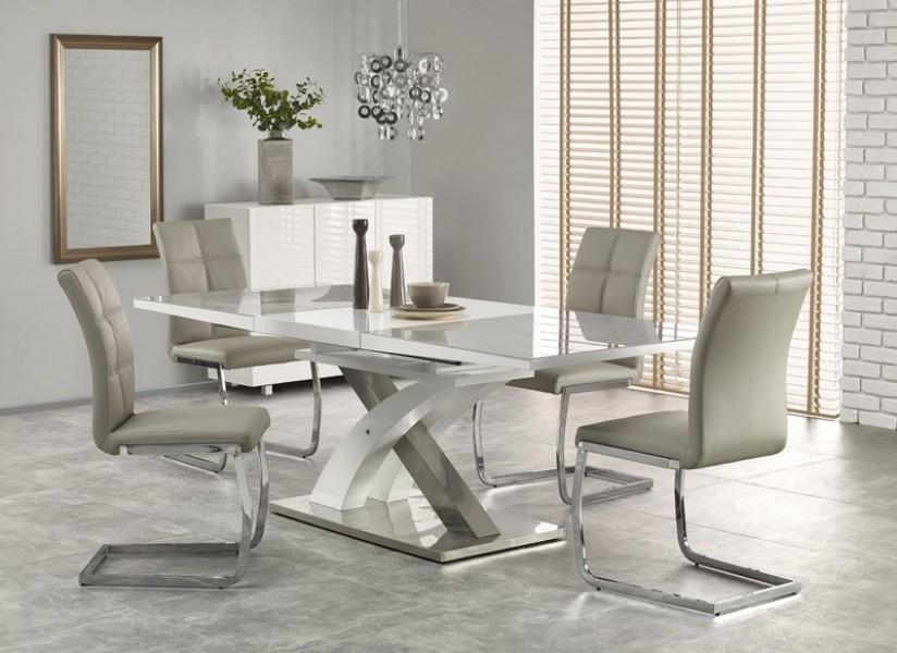 Modne ubrania Popielato biały stół Sandor 2 ze szklanym blatem - Stoły CD96