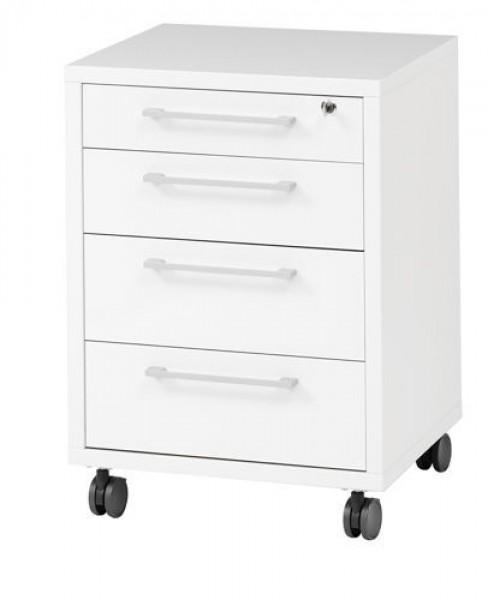 Kontenerek 4-szufladowy na kółkach Prima 4 biały