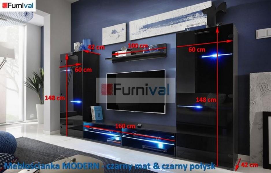 Meblościanka z oświetleniem LED Modern dąb san remo/grafit połysk