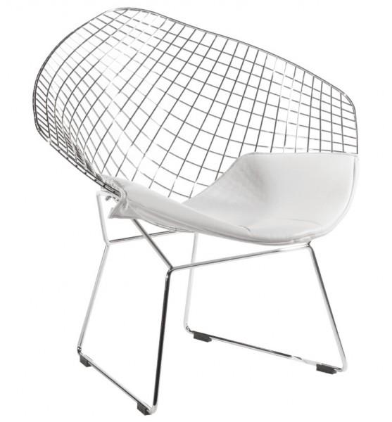 Designerski fotel z poduszką na chromowanym stelażu Volier Soft
